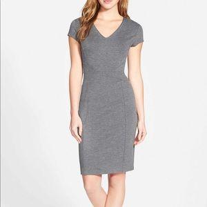 Halogen Seamed V-neck Ponte Sheath Dress